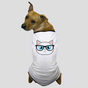 Cute Hipster Cat with Glasses Dog T-Shirt