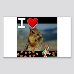 I Love Feeding Squirrels Rectangle Sticker