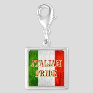 Italian Pride Silver Square Charm