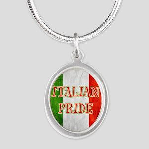 Italian Pride Silver Oval Necklace