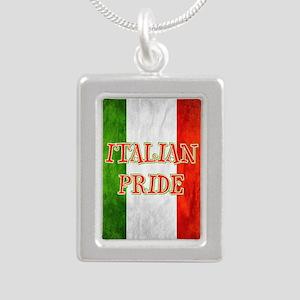 Italian Pride Silver Portrait Necklace