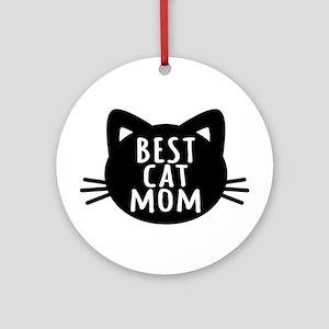 Best Cat Mom Round Ornament