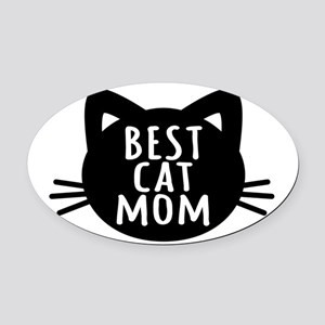 Best Cat Mom Oval Car Magnet