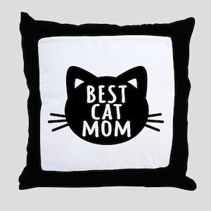 Best Cat Mom Throw Pillow