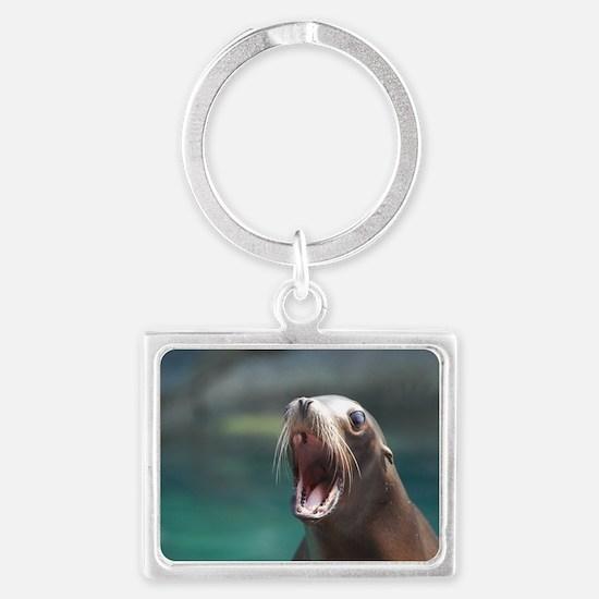Sea Lion Chatting Landscape Keychain