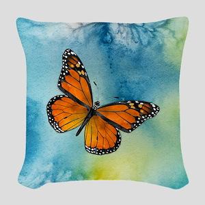 Monarch Butterfly Woven Throw Pillow