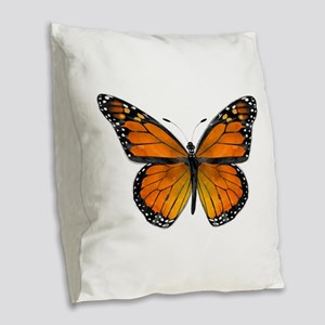 Monarch Butterfly Burlap Throw Pillow