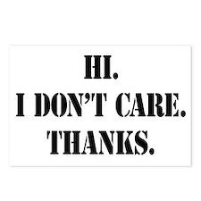 Hi. I Don't Care. Thanks. (4) Postcards (Package o
