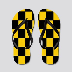 Checkered Pattern Flip Flops