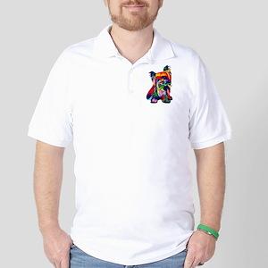 Bright Rainbow Yorkie Golf Shirt