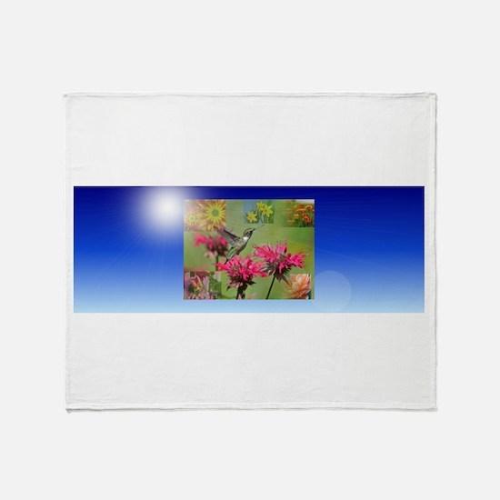 Hummingbird Flowers Throw Blanket