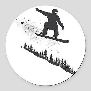 Snowboarder Round Car Magnet