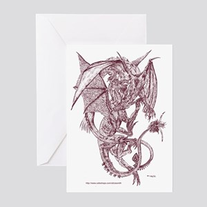 Sepia Fighting Dragons Greeting Cards (Package of