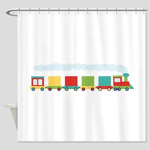 Toy Train Shower Curtain