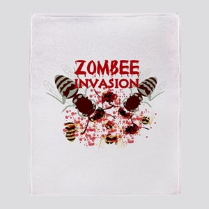 Invasion Of The Zombees Throw Blanket