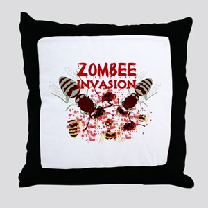 Invasion Of The Zombees Throw Pillow