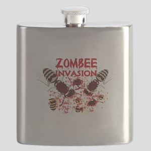 Invasion Of The Zombees Flask
