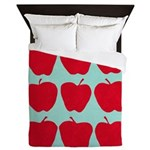 9 Apple Blue Red Queen Duvet