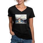 Abrahamster in Alaska Women's V-Neck Dark T-Shirt
