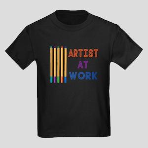 Artist At Work Oil Pastels Kids Dark T-Shirt