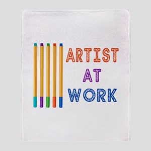 Artist At Work Oil Pastels Throw Blanket