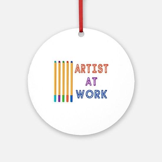 Artist At Work Oil Pastels Ornament (Round)