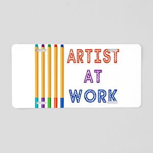 Artist At Work Oil Pastels Aluminum License Plate