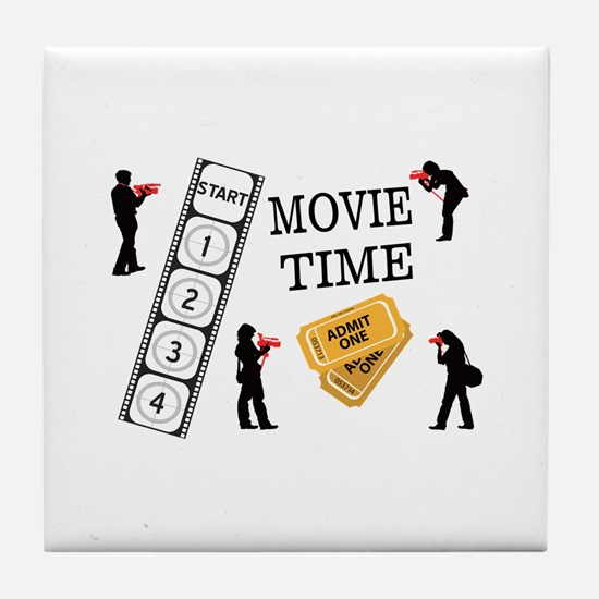 Come One Come All It's Movie Time Tile Coaster