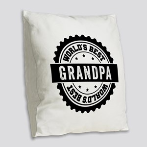 World's Best Grandpa Burlap Throw Pillow