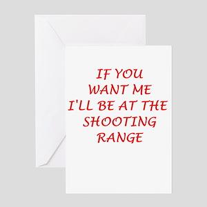 shooting range Greeting Cards