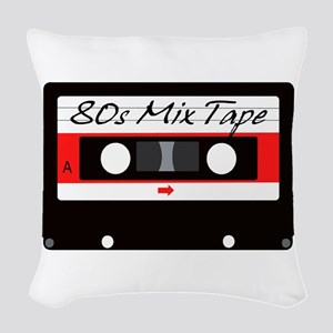 80s Music Mix Tape Cassette Woven Throw Pillow