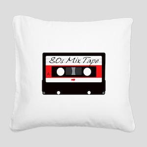 80s Music Mix Tape Cassette Square Canvas Pillow