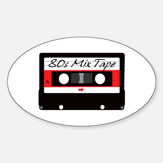 80s Music Mix Tape Cassette Sticker (Oval)