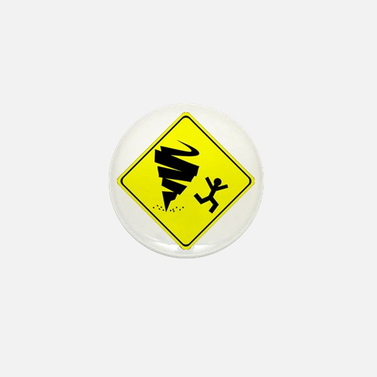 Funny Storm Chaser Tornado Warning Yel Mini Button