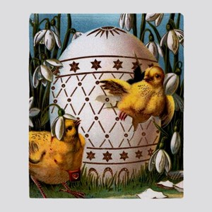 EASTER CHICKS WITH EGG Throw Blanket