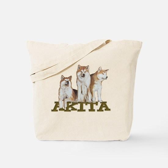 3 Akitas Tote Bag