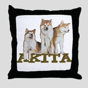 3 Akitas Throw Pillow