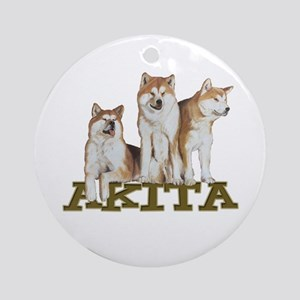 3 Akitas Ornament (Round)