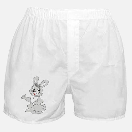 Cute Gray Bunny Rabbit Cartoon Boxer Shorts