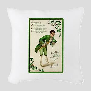 St. Patricks Day Gentleman Woven Throw Pillow