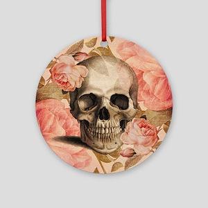 Vintage Rosa Skull Collage Ornament (Round)