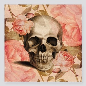 "Vintage Rosa Skull Collage Square Car Magnet 3"" x"