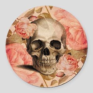 Vintage Rosa Skull Collage Round Car Magnet