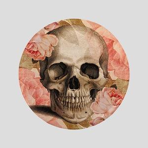 "Vintage Rosa Skull Collage 3.5"" Button"