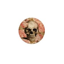 Vintage Rosa Skull Collage Mini Button