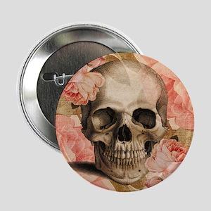 "Vintage Rosa Skull Collage 2.25"" Button"