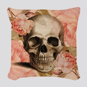 Vintage Rosa Skull Collage Woven Throw Pillow