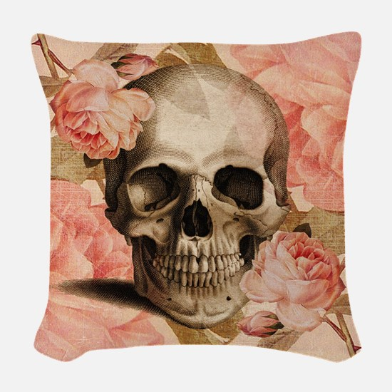 Vintage Rosa Skull Collage Woven Throw Pillow