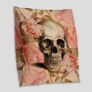Vintage Rosa Skull Collage Burlap Throw Pillow