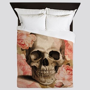 Vintage Rosa Skull Collage Queen Duvet
